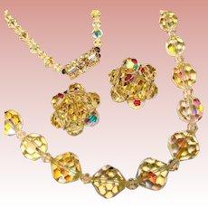 Gorgeous Yellow Aurora Crystal Vintage Necklace Set