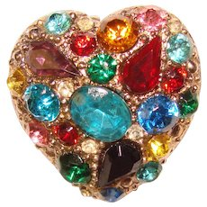 Gorgeous Vintage HEART Design Colored Glass Stones Pendant Brooch