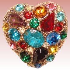 Gorgeous Vintage HEART Design Colored Glass Stones Pendant Brooch