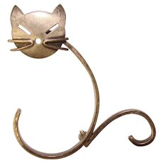 Awesome Beau Sterling MODERNIST CAT Vintage Brooch