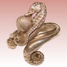 Fabulous STERLING Seahorse Design Vintage Ring