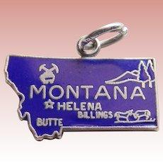 Sterling & Enamel MONTANA Vintage Estate Charm - State Souvenir