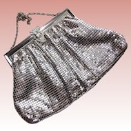 Gorgeous WHITING & DAVIS Vintage Mesh Purse - Evening Bag - Silvertone with Rhinestone Clasp