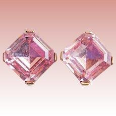 Gorgeous TRIFARI Signed Pink Rhinestone Vintage Clip Earrings