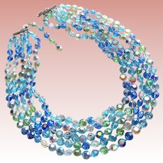 Gorgeous BLUE AQUA & GREEN Aurora Crystals 5 Strand Vintage Necklace - Great Colors for Summer