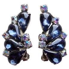 Gorgeous WEISS Signed Midnight Blue & Aurora Rhinestone Vintage Earrings