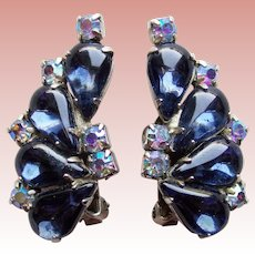 Gorgeous WEISS Signed Midnight Blue & Aurora Rhinestone Vintage Earrings