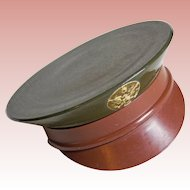 WWII 1940s ARMY OFFICER CAP Hat Vintage Sweetheart Powder Compact