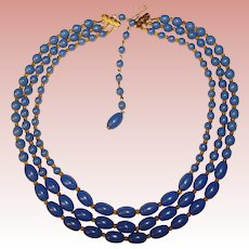 Gorgeous Vintage 3 Strand BLUE GLASS Beads Necklace