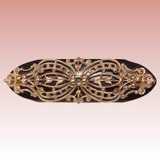 Fabulous BLACK BAKELITE Vintage Silver Filigree Overlay Brooch