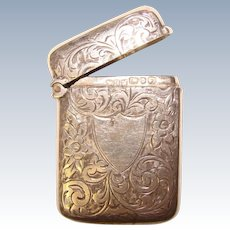 Fine Antique HAND ENGRAVED Design Sterling Match Safe