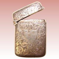 Fine Antique HAND ENGRAVED Design Sterling Match Safe