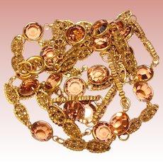 Fabulous TOPAZ Colored Bezel Edge Crystals Vintage Necklace
