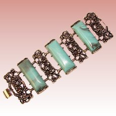 Fabulous HUGE Blue Thermoset Stones Vintage Bracelet