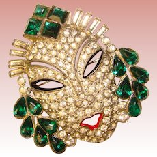 Fabulous ART DECO Asian Princess Mask Rhinestone Brooch