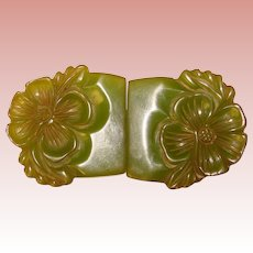 Fabulous Carved GREEN BAKELITE Vintage Buckle