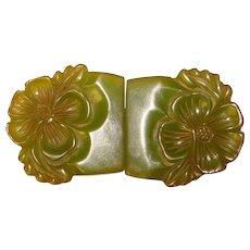 Fabulous Carved GREEN BAKELITE Vintage Buckle