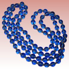Fabulous BLUE PEKING GLASS Long Strand Antique Glass Beads