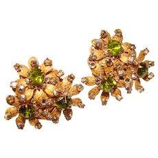 Fabulous MIRIAM HASKELL Green Rhinestone Vintage Clip Earrings