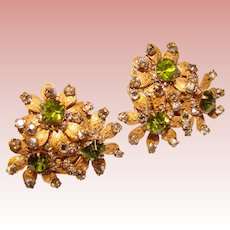Fabulous MIRIAM HASKELL Green Rhinestone Vintage Clip Earrings