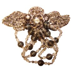Fabulous MIRIAM HASKELL Large Rhinestone & Bead Dangles Vintage Brooch