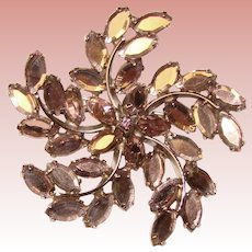 Fabulous LAVENDER Colored Reflective Rhinestones Vintage Brooch