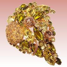 Fabulous PERIDOT GREEN & Yellow Vintage Ornate Rhinestone Brooch