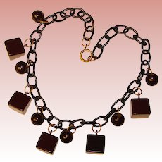 Fabulous DARK BROWN Bakelite Dangles Blue Celluloid Chain Necklace