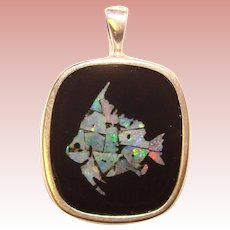 Fabulous STERLING & OPAL Mosaic Inlay Fish Design Pendant