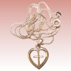 Gorgeous STERLING Cross in Heart Pendant
