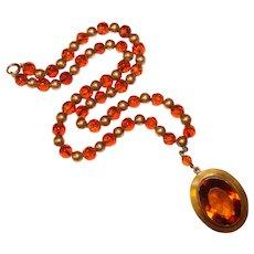 Fabulous ART DECO Amber Glass Necklace