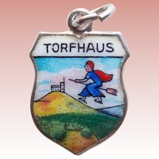 835 Silver & Enamel TORFHAUS Vintage Estate Charm - Souvenir of Germany