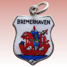 800 Silver & Enamel BREMERHAVEN Vintage Estate Charm - Souvenir of Germany