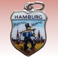 800 Silver & Enamel HAMBURG Vintage Estate Charm - Souvenir of Germany
