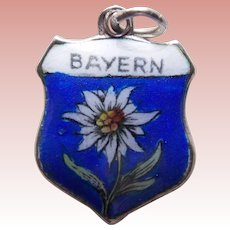 800 Silver & Enamel BAYERN BAVARIA Vintage Estate Charm - Souvenir of Germany