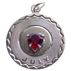 Sterling JULY Red Stone Vintage Estate Charm - Birthday