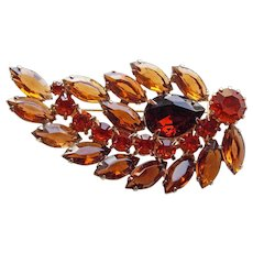 Gorgeous BROWN & ORANGE RHINESTONE Vintage Brooch - Autumn Fall Colors