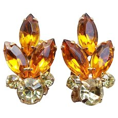 Gorgeous Yellow & Amber Rhinestone Vintage Earrings - Summer or Autumn Fall Colors
