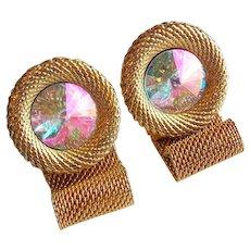 Awesome RIVOLI Aurora Rhinestone Mesh Wrap Vintage Cufflinks