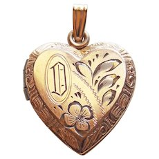 Gorgeous 12K GF Signed Heart Vintage Locket - Engraved Initial D
