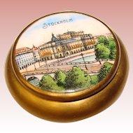 Fabulous Vintage ENAMELED Top Brass Patch Trinket Box - Stockholm
