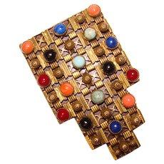 Fabulous ART DECO Colored Stones Dress Clip Brooch