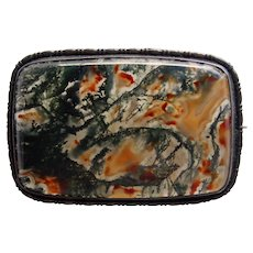 Gorgeous ART DECO Sterling & Moss Agate Brooch - Germany