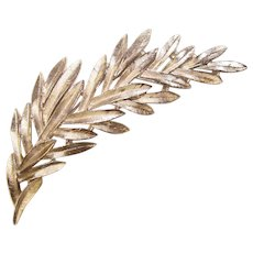 Gorgeous TRIFARI Vintage Silver Colored Branch Shaped Brooch