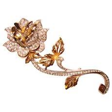 Fabulous Designer Quality Long Stem Rose Vintage Rhinestone Brooch