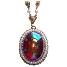 Fabulous Red Iridescent Glass Stone West Germany Vintage Necklace