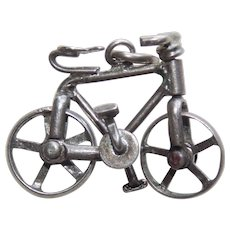 Sterling BICYCLE Bike Vintage Estate Charm - Mechanical Movable