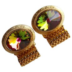 Awesome Dante WATERMELON Oval Rivoli Rhinestone Wrap Vintage Cufflinks - Signed