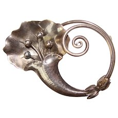 Fabulous GEORG JENSEN Sterling Signed Vintage Brooch - Handwrought Flower Design