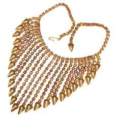 Fabulous HUGE Aurora Rhinestone & Pearl Stones Dangle Vintage Necklace